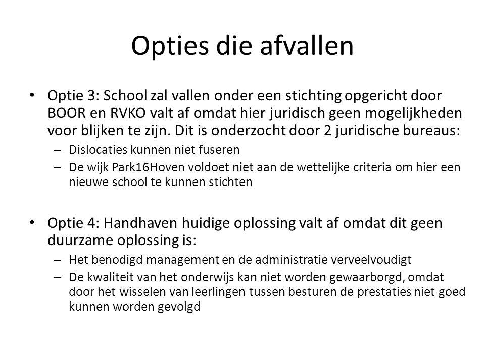 Opties die afvallen Optie 3: School zal vallen onder een stichting opgericht door BOOR en RVKO valt af omdat hier juridisch geen mogelijkheden voor blijken te zijn.
