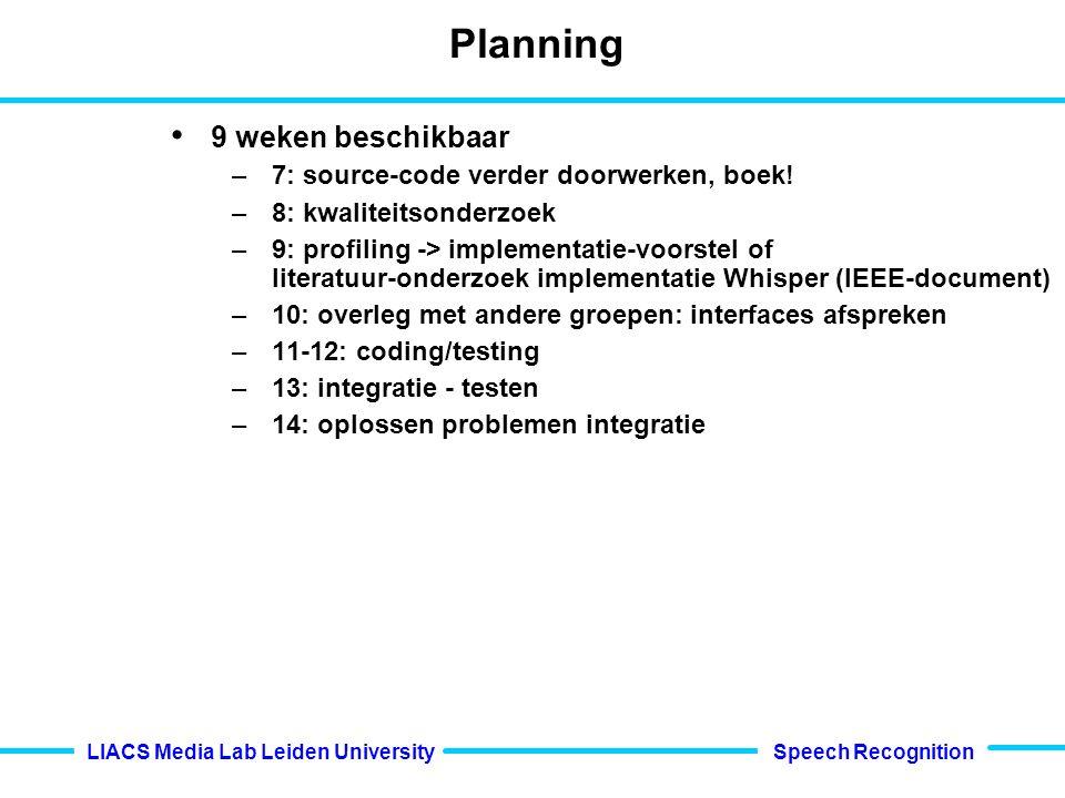 Speech Recognition LIACS Media Lab Leiden University Planning 9 weken beschikbaar –7: source-code verder doorwerken, boek.