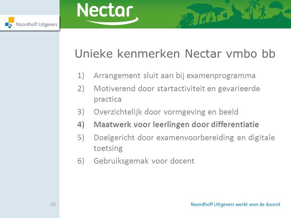 20 Unieke kenmerken Nectar vmbo bb 1)Arrangement sluit aan bij examenprogramma 2)Motiverend door startactiviteit en gevarieerde practica 3)Overzichtel