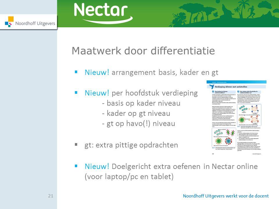 21 Maatwerk door differentiatie  Nieuw! arrangement basis, kader en gt  Nieuw! per hoofdstuk verdieping - basis op kader niveau - kader op gt niveau