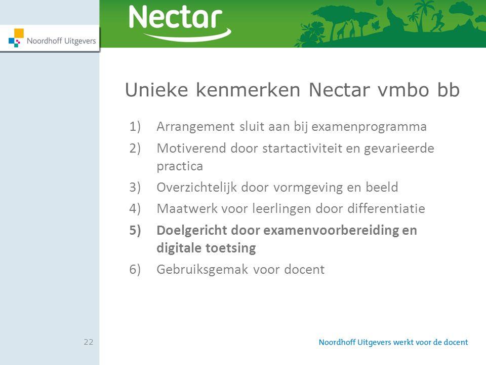 22 Unieke kenmerken Nectar vmbo bb 1)Arrangement sluit aan bij examenprogramma 2)Motiverend door startactiviteit en gevarieerde practica 3)Overzichtel