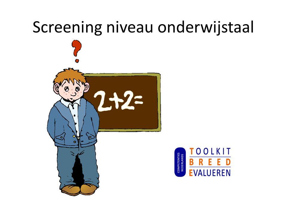 Screening niveau onderwijstaal