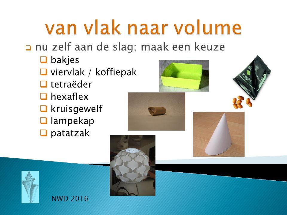  nu zelf aan de slag; maak een keuze  bakjes  viervlak / koffiepak  tetraëder  hexaflex  kruisgewelf  lampekap  patatzak NWD 2016