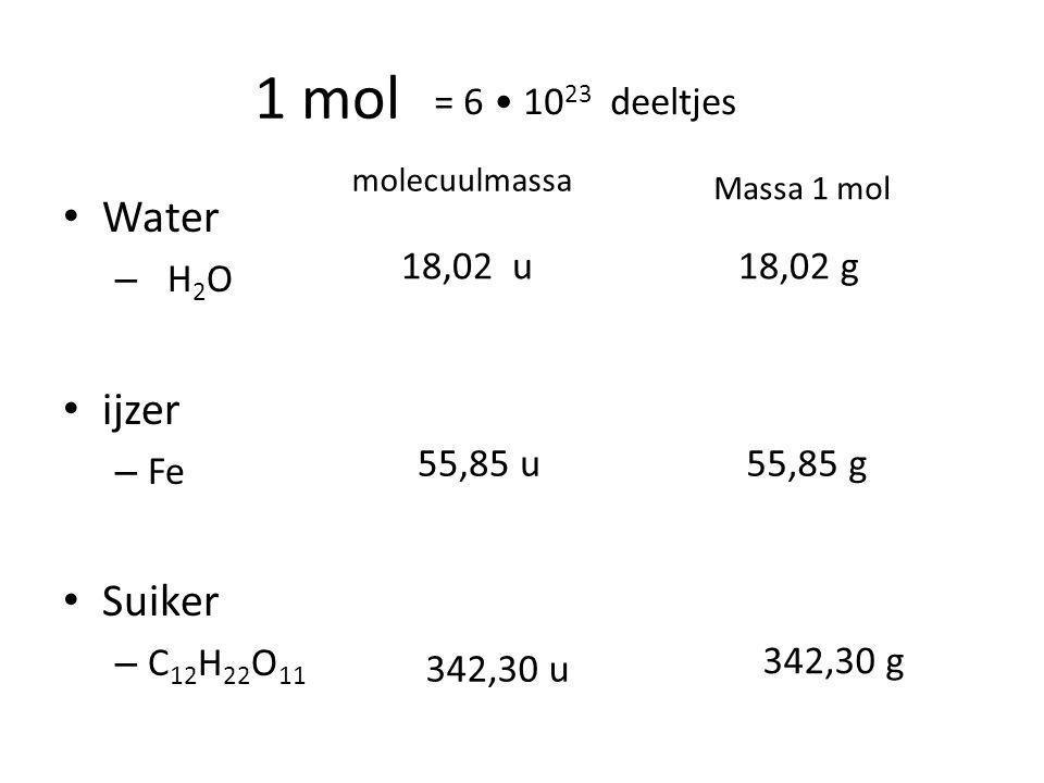 Rekenen met mol Formule – n aantal mol mol – mmassa g – Mmol massa g / mol (g mol -1 ) m = n M n = m/M (M = m/n) Bereken molmassa Reken gegeven om met de juiste formule eenheid
