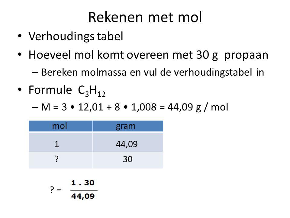 Rekenen met molair volume Verhoudings tabel Met hoeveel mol komt 5 L propaan overeen bij 25 o en p = p o – Zoek het molair volume op in tabel 7 Binas en vul de verhoudingstabel in molL 124,5 5.