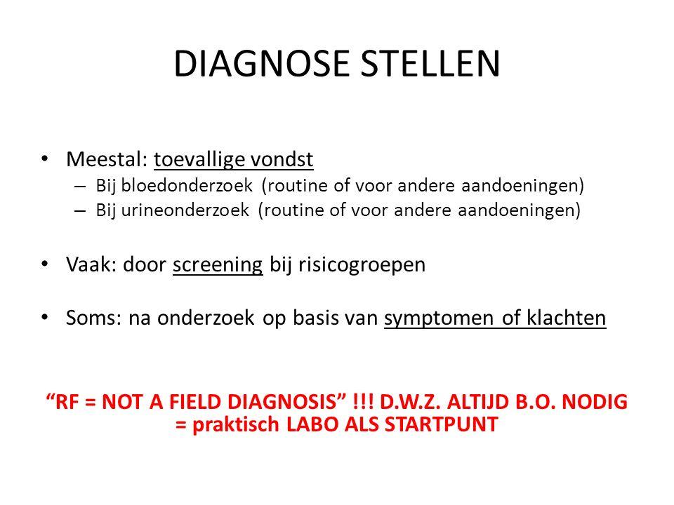 TOEVALLIGE VONDST bij onderzoeken in routine, preoperatief of in kader van bepaalde aandoening Op bloedanalyse – GFR ( < 60 ml/min) – Indien geen GFR gekend: Verdacht bij – Creatinine ↑ – Ureum ↑ – Hemoglobine ↓ (andere oorzaken anemie!!) In urine – Verdacht bij: Stix: Alb +++ MUO: cilinders Urine/dosage: Eiwit + Toevallige vondst Bij screening Bij symptomen