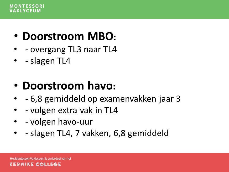Het Montessori Vaklyceum is onderdeel van het Doorstroom MBO : - overgang TL3 naar TL4 - slagen TL4 Doorstroom havo : - 6,8 gemiddeld op examenvakken jaar 3 - volgen extra vak in TL4 - volgen havo-uur - slagen TL4, 7 vakken, 6,8 gemiddeld