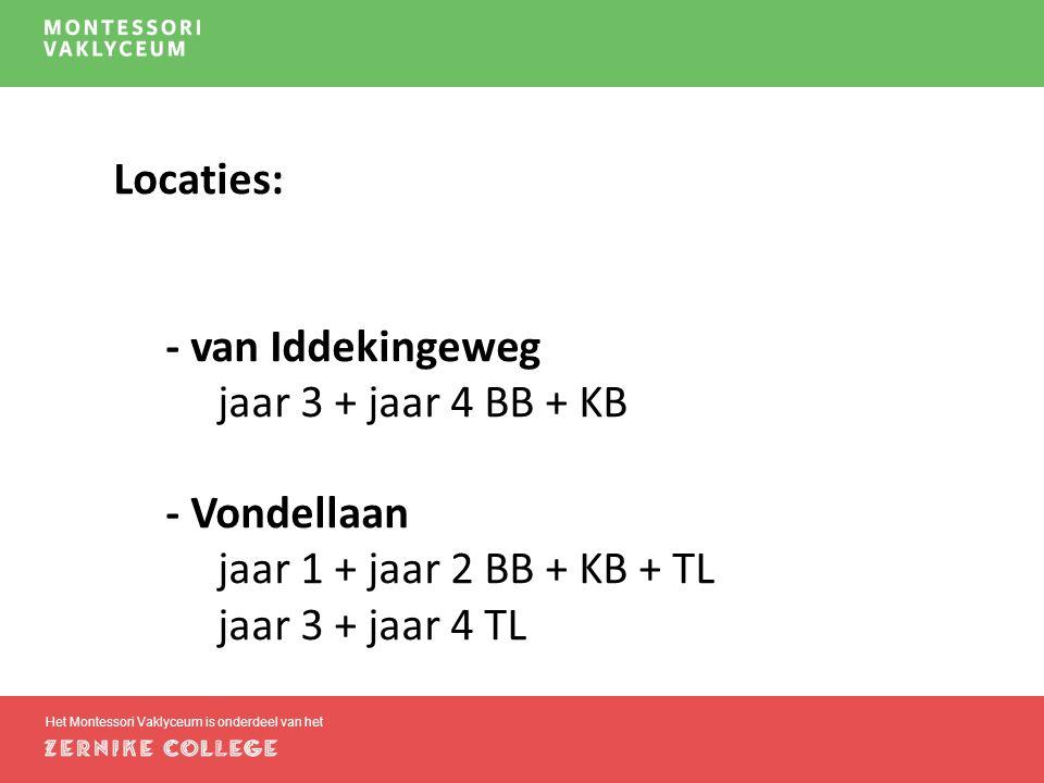 Het Montessori Vaklyceum is onderdeel van het Locaties: - van Iddekingeweg jaar 3 + jaar 4 BB + KB - Vondellaan jaar 1 + jaar 2 BB + KB + TL jaar 3 + jaar 4 TL