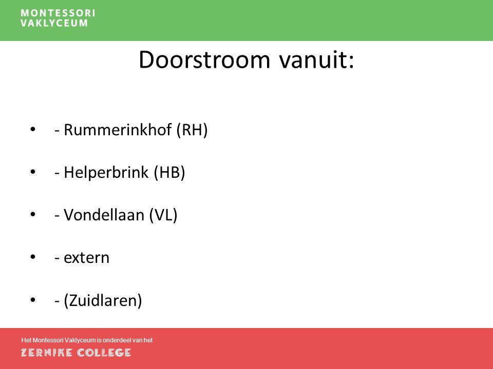 Het Montessori Vaklyceum is onderdeel van het Doorstroom vanuit: - Rummerinkhof (RH) - Helperbrink (HB) - Vondellaan (VL) - extern - (Zuidlaren)