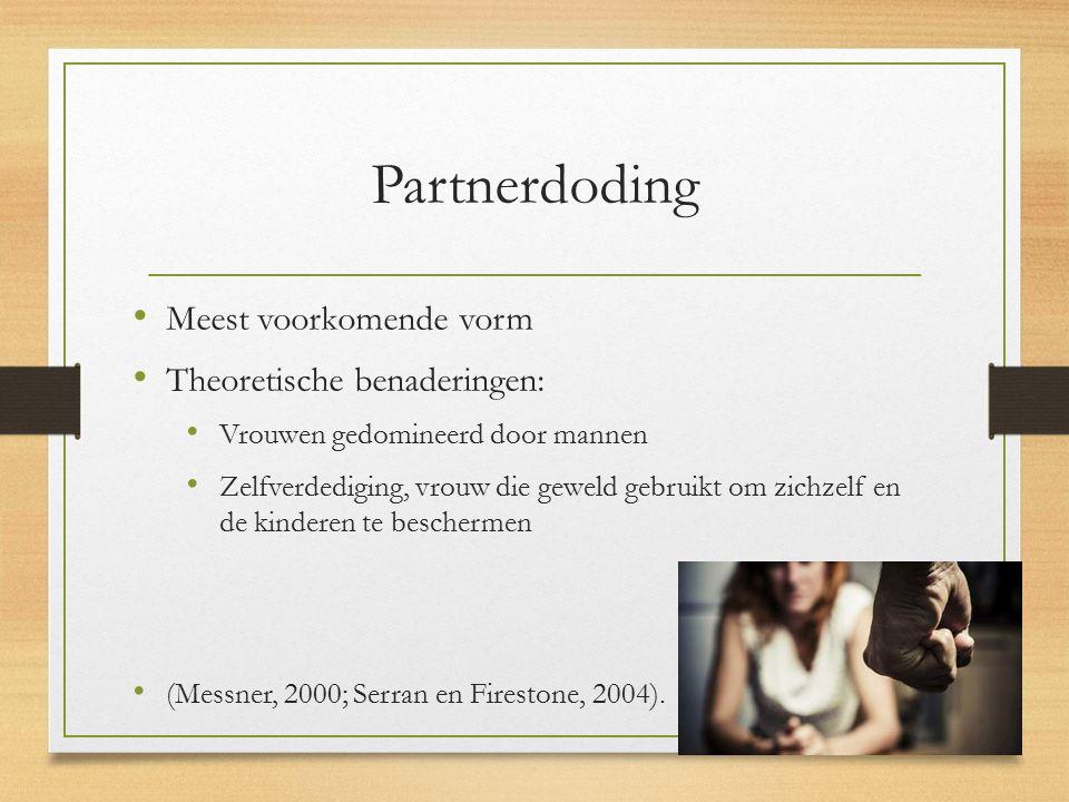 Partnerdoding Meest voorkomende vorm Theoretische benaderingen: Vrouwen gedomineerd door mannen Zelfverdediging, vrouw die geweld gebruikt om zichzelf en de kinderen te beschermen (Messner, 2000; Serran en Firestone, 2004).