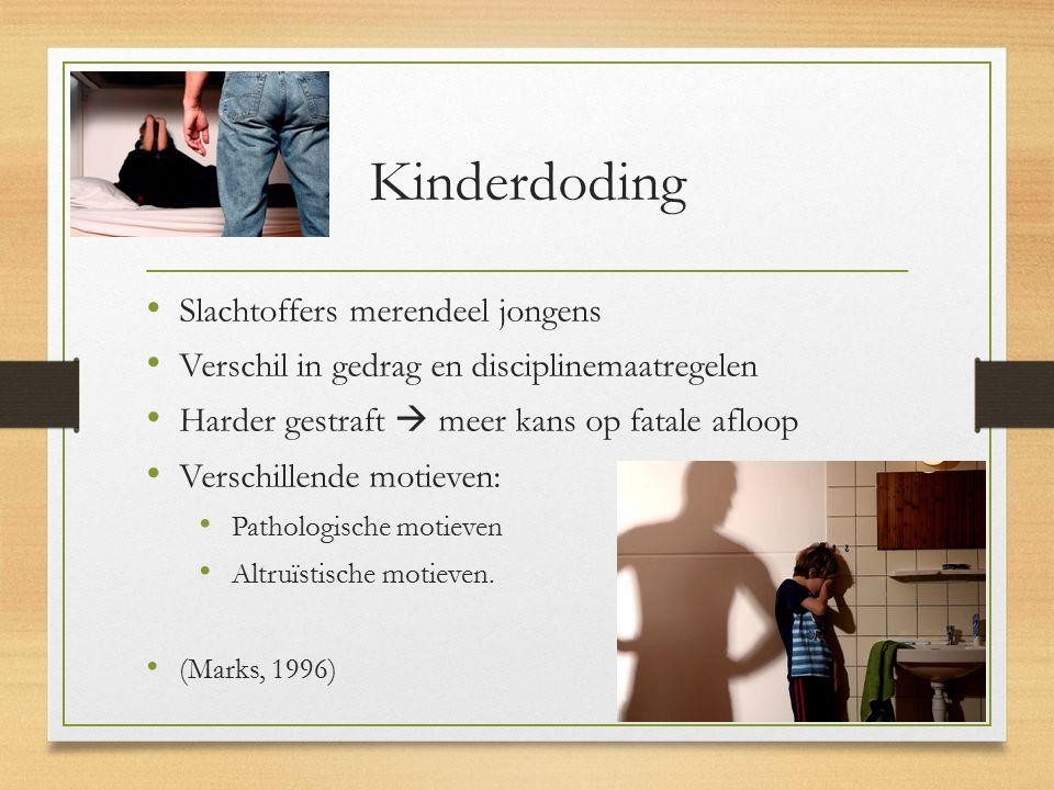 Kinderdoding Slachtoffers merendeel jongens Verschil in gedrag en disciplinemaatregelen Harder gestraft  meer kans op fatale afloop Verschillende mot