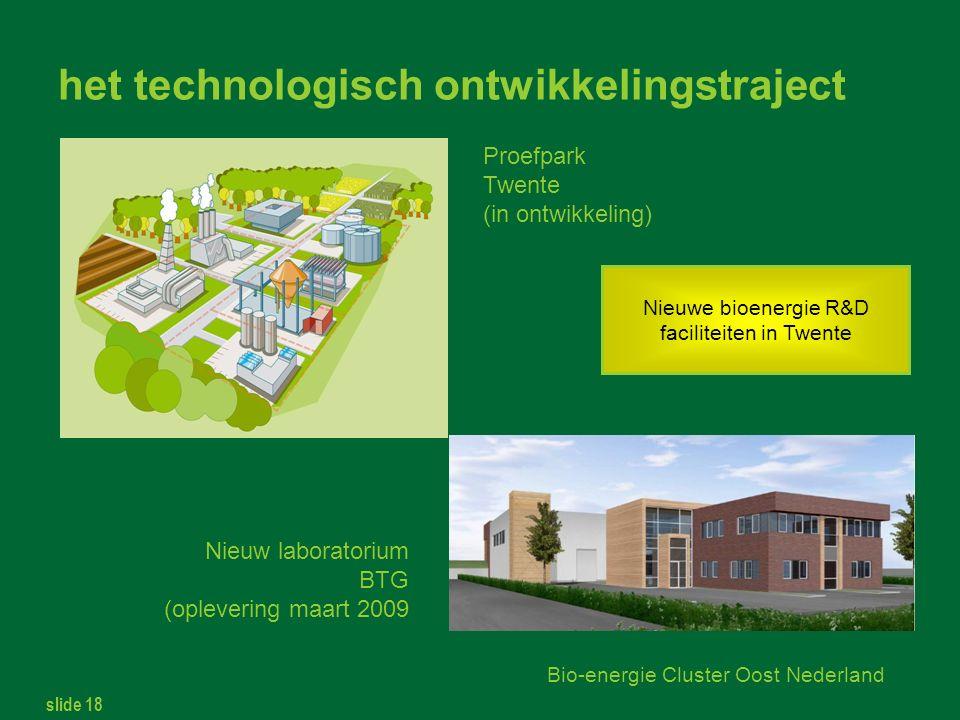 slide 18 Bio-energie Cluster Oost Nederland het technologisch ontwikkelingstraject Proefpark Twente (in ontwikkeling) Nieuw laboratorium BTG (oplevering maart 2009 Nieuwe bioenergie R&D faciliteiten in Twente