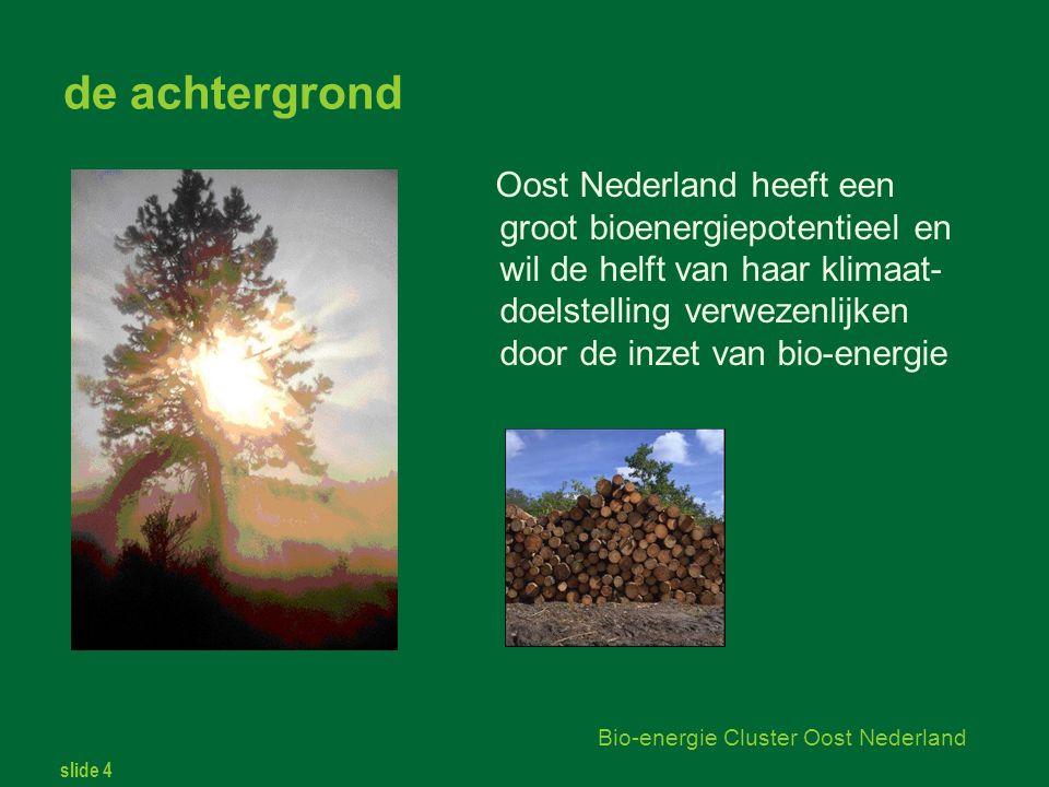 slide 4 Bio-energie Cluster Oost Nederland de achtergrond Oost Nederland heeft een groot bioenergiepotentieel en wil de helft van haar klimaat- doelstelling verwezenlijken door de inzet van bio-energie