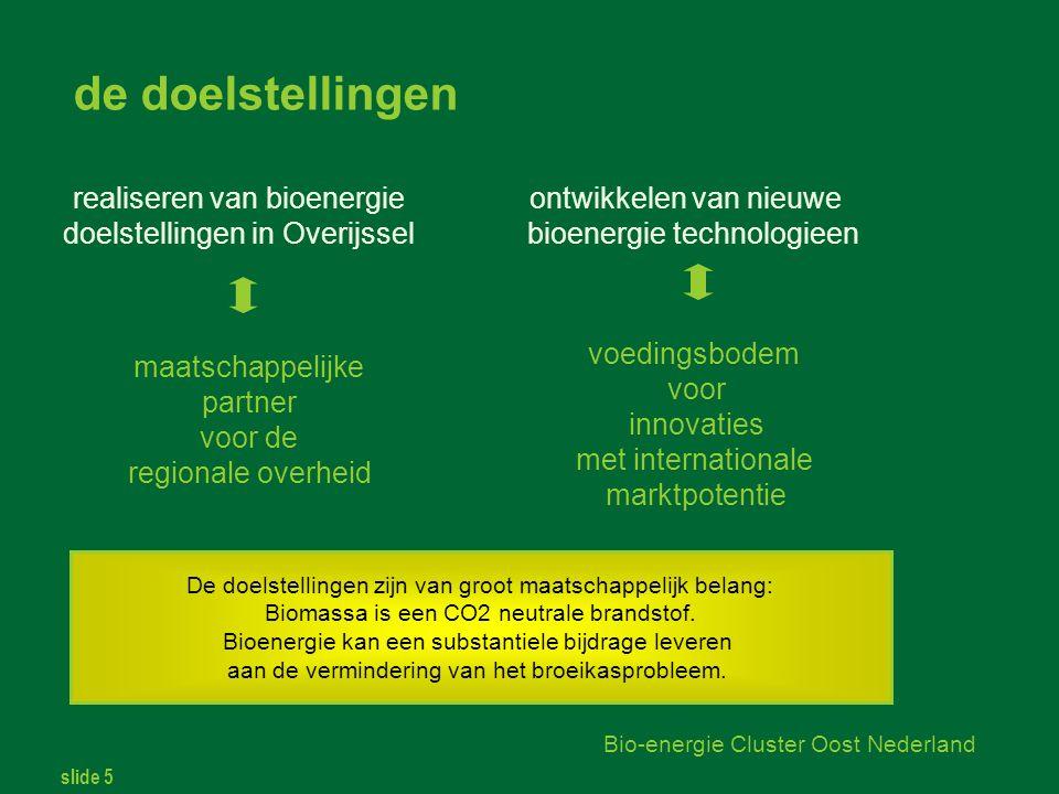 slide 5 Bio-energie Cluster Oost Nederland realiseren van bioenergie doelstellingen in Overijssel ontwikkelen van nieuwe bioenergie technologieen maatschappelijke partner voor de regionale overheid voedingsbodem voor innovaties met internationale marktpotentie de doelstellingen De doelstellingen zijn van groot maatschappelijk belang: Biomassa is een CO2 neutrale brandstof.