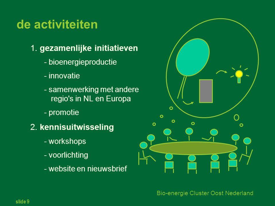 slide 9 Bio-energie Cluster Oost Nederland de activiteiten 1.
