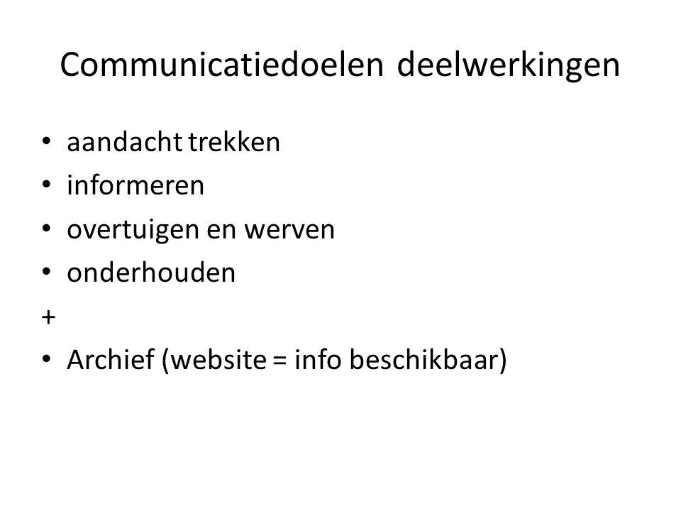 Communicatiedoelen deelwerkingen aandacht trekken informeren overtuigen en werven onderhouden + Archief (website = info beschikbaar)