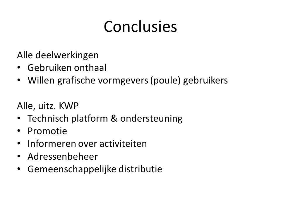Conclusies Alle deelwerkingen Gebruiken onthaal Willen grafische vormgevers (poule) gebruikers Alle, uitz.
