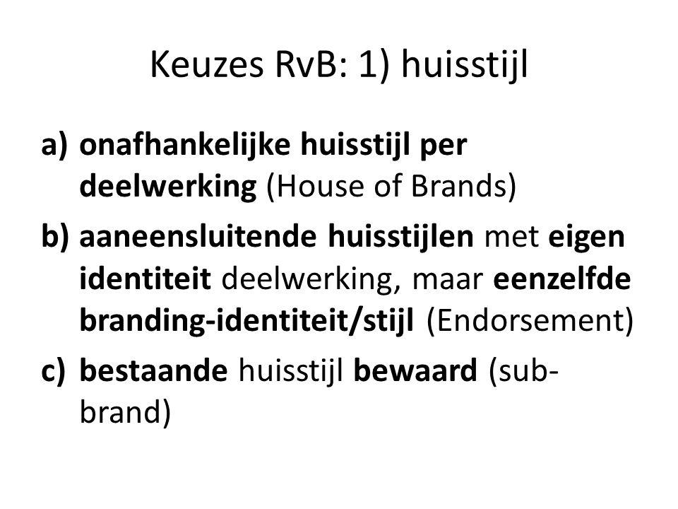 Keuzes RvB: 1) huisstijl a)onafhankelijke huisstijl per deelwerking (House of Brands) b)aaneensluitende huisstijlen met eigen identiteit deelwerking, maar eenzelfde branding-identiteit/stijl (Endorsement) c)bestaande huisstijl bewaard (sub- brand)