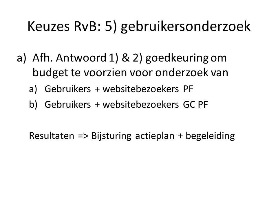 Keuzes RvB: 5) gebruikersonderzoek a)Afh.