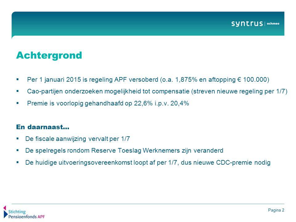Pagina 2 Achtergrond  Per 1 januari 2015 is regeling APF versoberd (o.a. 1,875% en aftopping € 100.000)  Cao-partijen onderzoeken mogelijkheid tot c