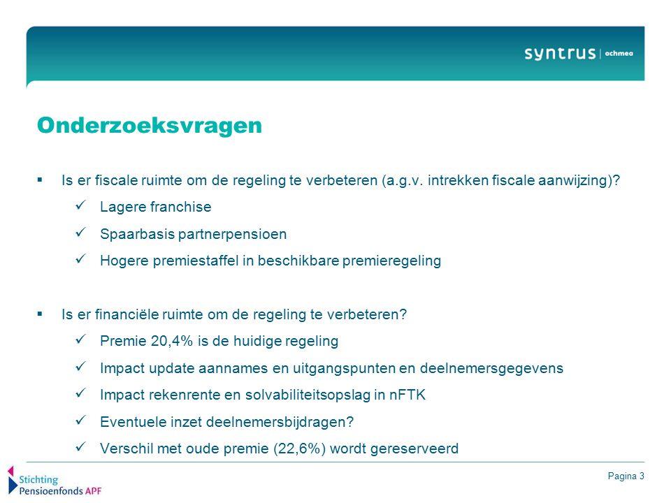 Pagina 3 Onderzoeksvragen  Is er fiscale ruimte om de regeling te verbeteren (a.g.v. intrekken fiscale aanwijzing)? Lagere franchise Spaarbasis partn