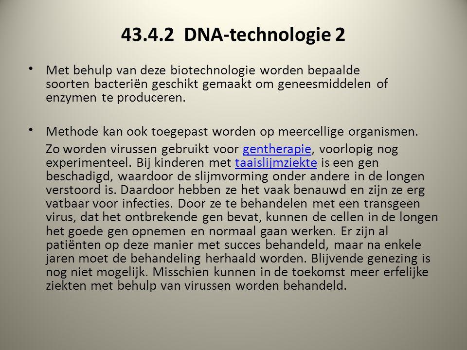 43.4.2 DNA-technologie 2 Met behulp van deze biotechnologie worden bepaalde soorten bacteriën geschikt gemaakt om geneesmiddelen of enzymen te produceren.