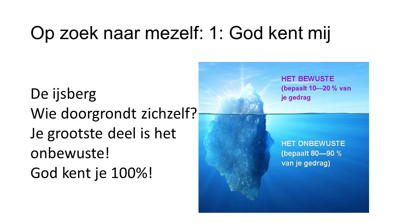 Op zoek naar mezelf: 1: God kent mij De ijsberg Wie doorgrondt zichzelf.