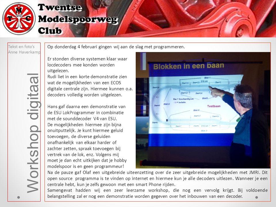 Workshop digitaal Tekst en foto's Anne Haverkamp Op donderdag 4 februari gingen wij aan de slag met programmeren.