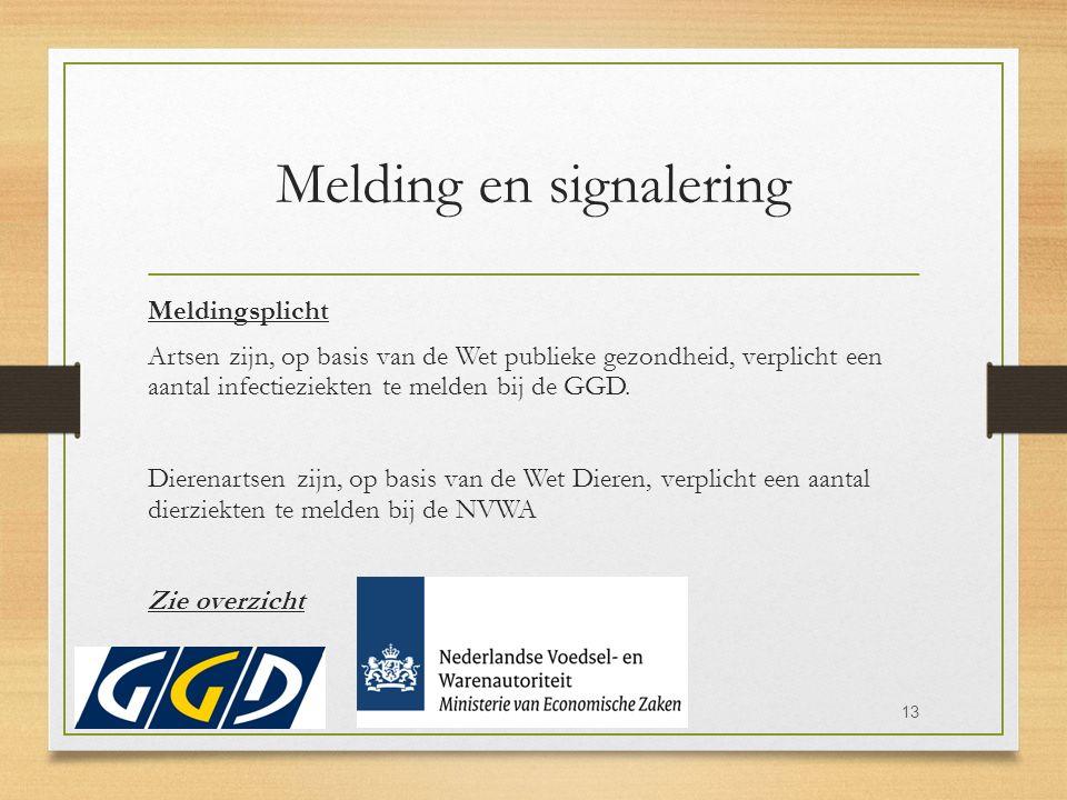 Melding en signalering Meldingsplicht Artsen zijn, op basis van de Wet publieke gezondheid, verplicht een aantal infectieziekten te melden bij de GGD.