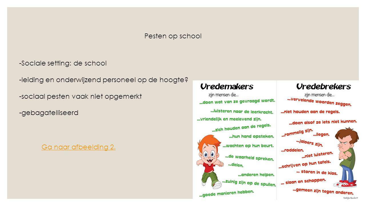 Pesten op school -Sociale setting: de school -leiding en onderwijzend personeel op de hoogte.
