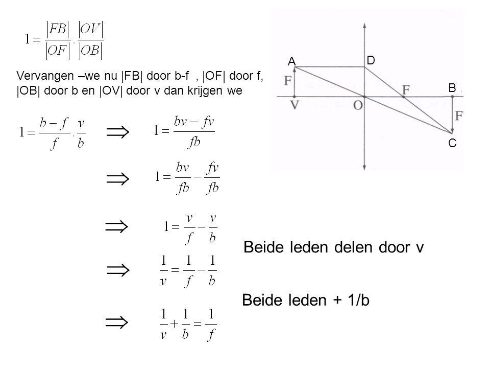 A B C D Vervangen –we nu |FB| door b-f, |OF| door f, |OB| door b en |OV| door v dan krijgen we   Beide leden delen door v   Beide leden + 1/b 