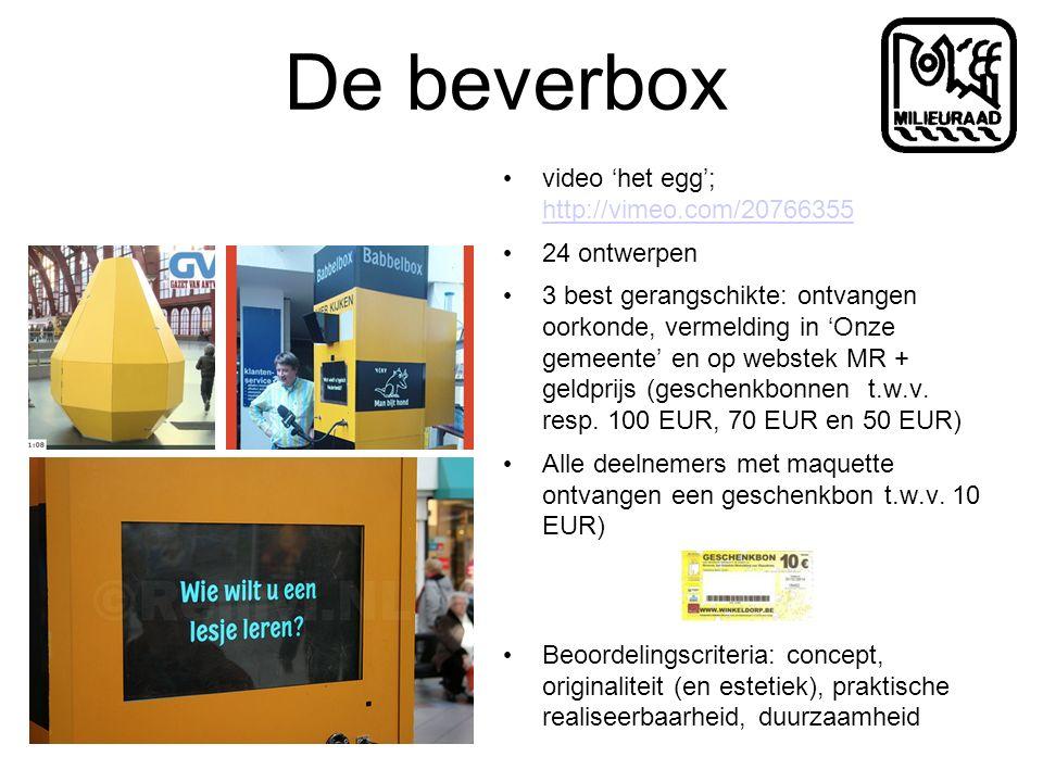 De beverbox video 'het egg'; http://vimeo.com/20766355 http://vimeo.com/20766355 24 ontwerpen 3 best gerangschikte: ontvangen oorkonde, vermelding in