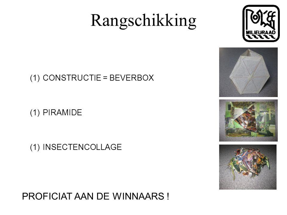 Rangschikking (1) CONSTRUCTIE = BEVERBOX (1) PIRAMIDE (1) INSECTENCOLLAGE PROFICIAT AAN DE WINNAARS !