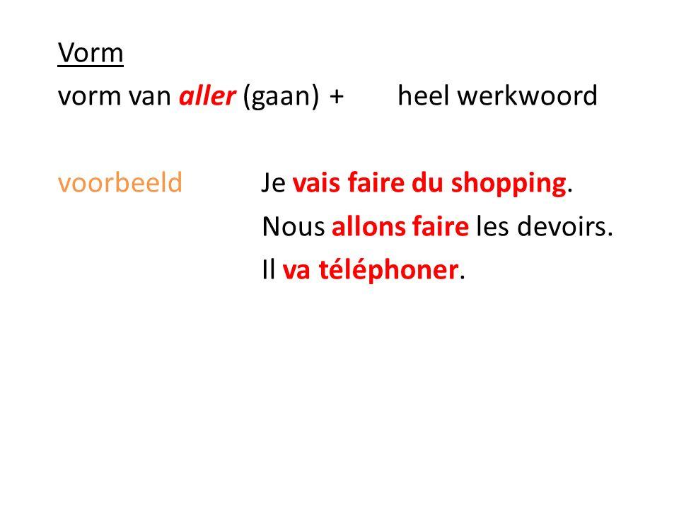 Vorm vorm van aller (gaan) + heel werkwoord voorbeeldJe vais faire du shopping.