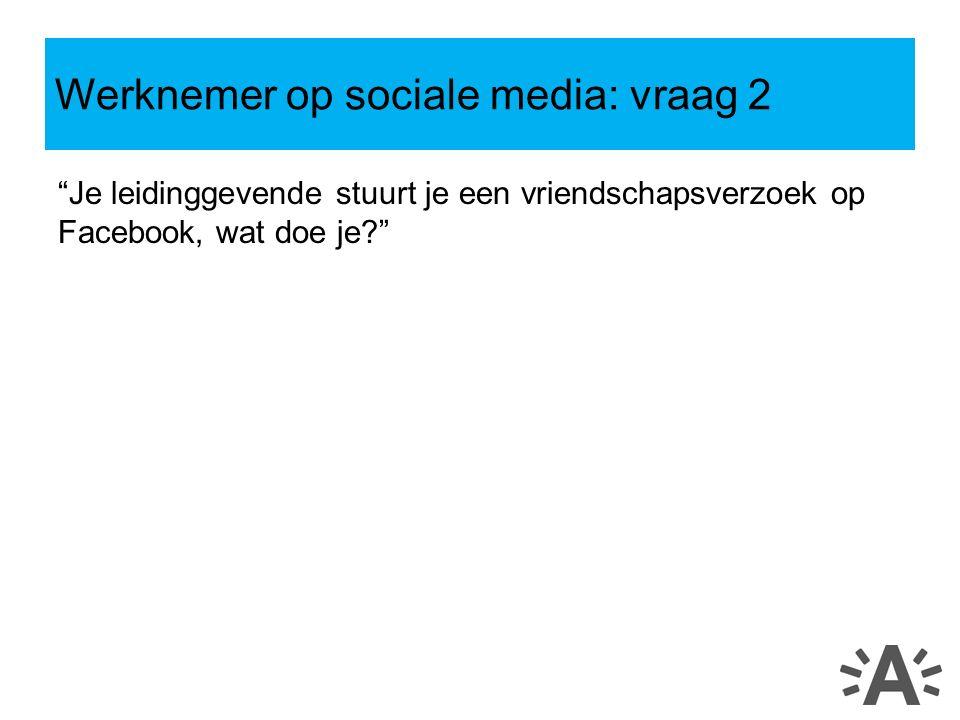 Je leidinggevende stuurt je een vriendschapsverzoek op Facebook, wat doe je Werknemer op sociale media: vraag 2