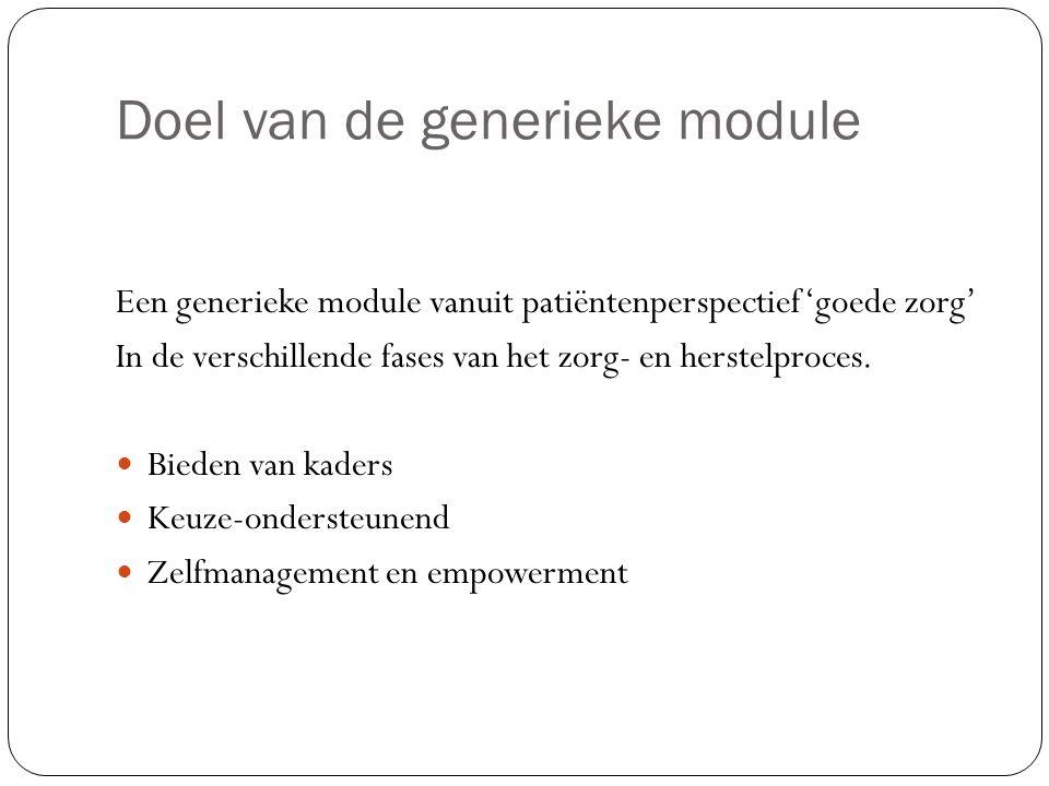 Doel van de generieke module Een generieke module vanuit patiëntenperspectief 'goede zorg' In de verschillende fases van het zorg- en herstelproces. B