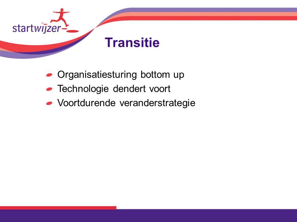Transitie Organisatiesturing bottom up Technologie dendert voort Voortdurende veranderstrategie