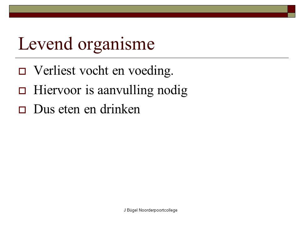 J Bügel Noorderpoortcollege Levend organisme  Verliest vocht en voeding.  Hiervoor is aanvulling nodig  Dus eten en drinken