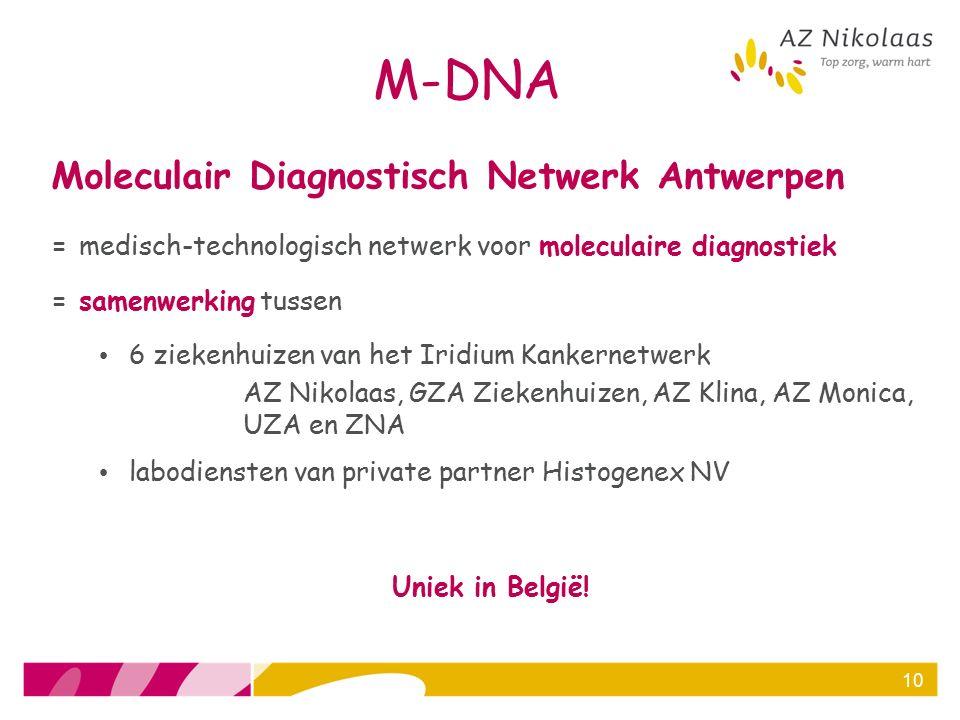 M-DNA Moleculair Diagnostisch Netwerk Antwerpen = medisch-technologisch netwerk voor moleculaire diagnostiek = samenwerking tussen 6 ziekenhuizen van