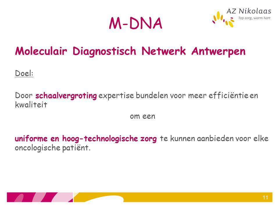 M-DNA Moleculair Diagnostisch Netwerk Antwerpen Doel: Door schaalvergroting expertise bundelen voor meer efficiëntie en kwaliteit om een uniforme en h