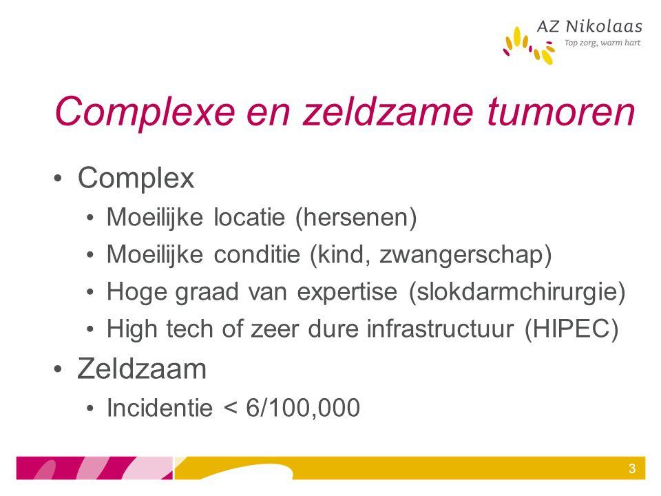3 Complexe en zeldzame tumoren Complex Moeilijke locatie (hersenen) Moeilijke conditie (kind, zwangerschap) Hoge graad van expertise (slokdarmchirurgi