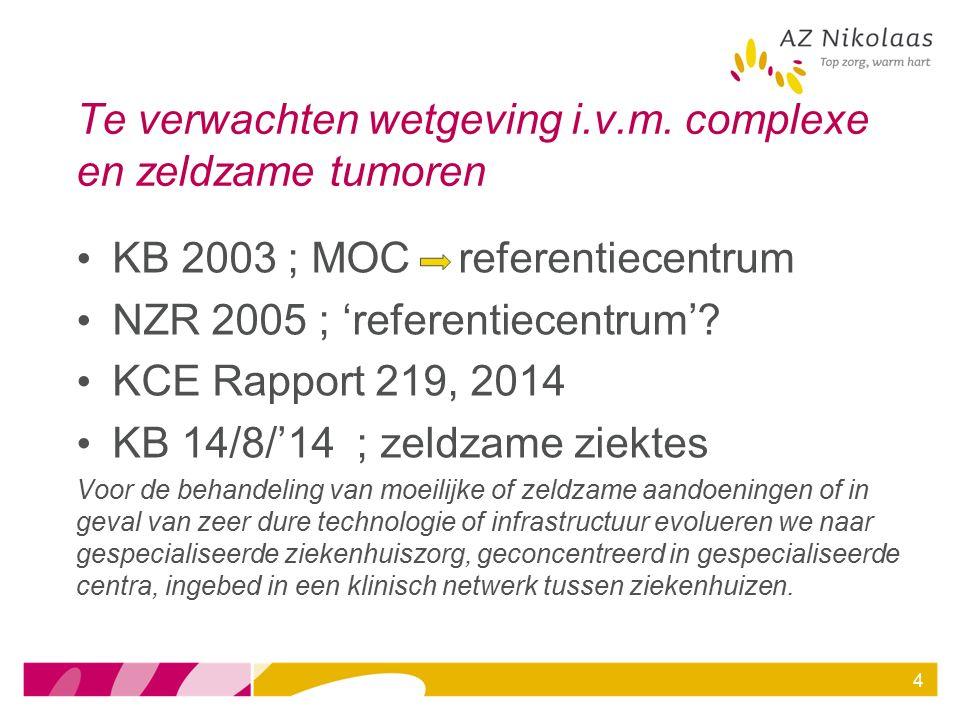 4 Te verwachten wetgeving i.v.m. complexe en zeldzame tumoren KB 2003 ; MOC referentiecentrum NZR 2005 ; 'referentiecentrum'? KCE Rapport 219, 2014 KB