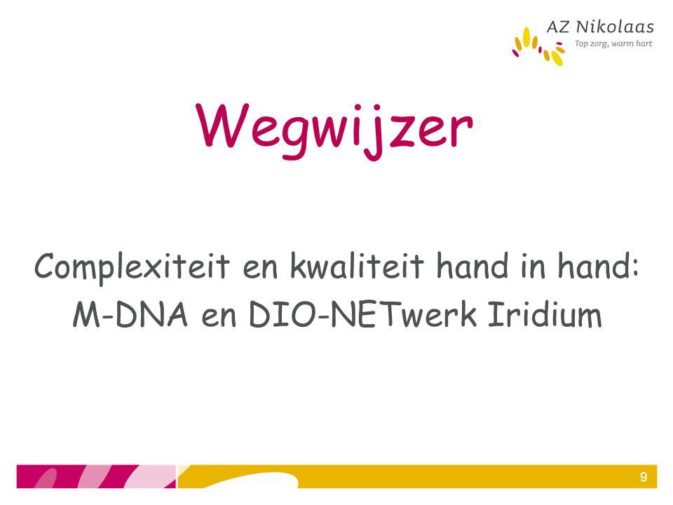 M-DNA Moleculair Diagnostisch Netwerk Antwerpen = medisch-technologisch netwerk voor moleculaire diagnostiek = samenwerking tussen 6 ziekenhuizen van het Iridium Kankernetwerk AZ Nikolaas, GZA Ziekenhuizen, AZ Klina, AZ Monica, UZA en ZNA labodiensten van private partner Histogenex NV Uniek in België.