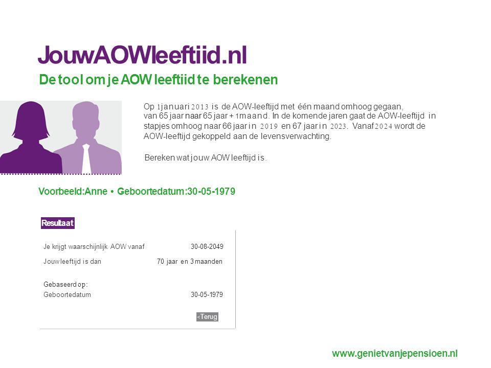 www.genietvanjepensioen.nl JouwAOWleeftiid.nl De tool om je AOW leeftiid te berekenen Op 1 januari 2013 is de AOW-leeftijd met één maand omhoog gegaan, van 65 jaar naar 65 jaar + 1 maand.