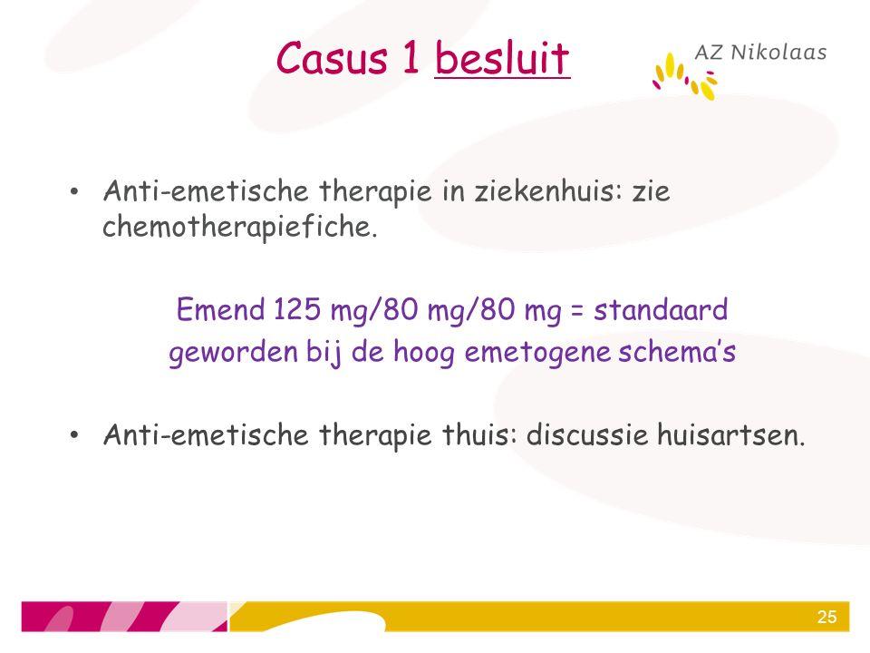 Casus 1 besluit Anti-emetische therapie in ziekenhuis: zie chemotherapiefiche. Emend 125 mg/80 mg/80 mg = standaard geworden bij de hoog emetogene sch
