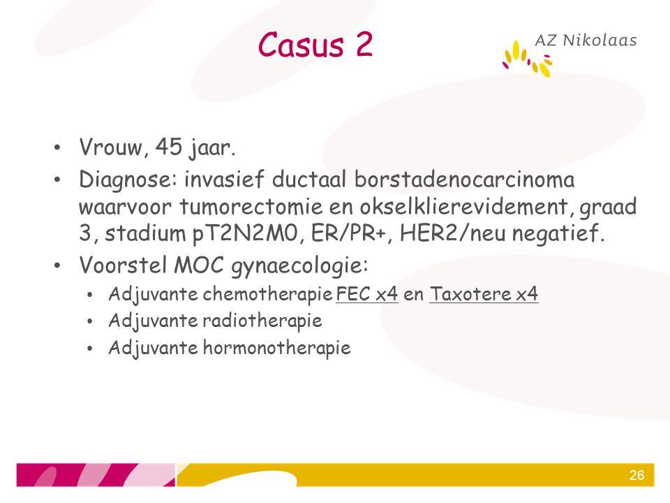 Casus 2 Vrouw, 45 jaar. Diagnose: invasief ductaal borstadenocarcinoma waarvoor tumorectomie en okselklierevidement, graad 3, stadium pT2N2M0, ER/PR+,