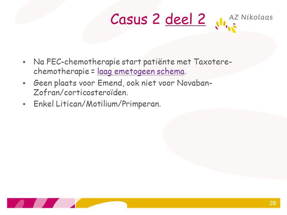 Casus 2 deel 2 Na FEC-chemotherapie start patiënte met Taxotere- chemotherapie = laag emetogeen schema. Geen plaats voor Emend, ook niet voor Novaban-
