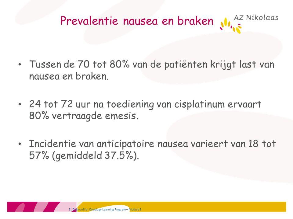 Prevalentie nausea en braken Tussen de 70 tot 80% van de patiënten krijgt last van nausea en braken. 24 tot 72 uur na toediening van cisplatinum ervaa
