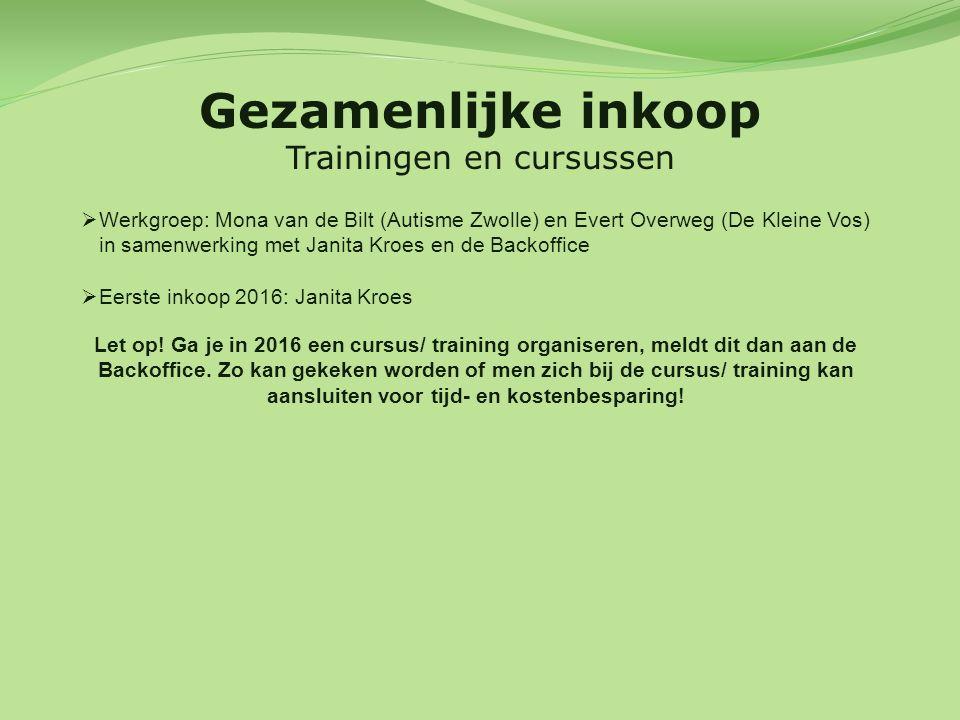 Gezamenlijke inkoop Trainingen en cursussen  Werkgroep: Mona van de Bilt (Autisme Zwolle) en Evert Overweg (De Kleine Vos) in samenwerking met Janita