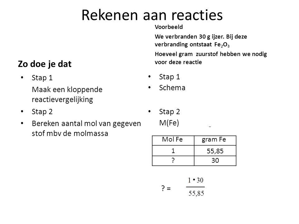 Rekenen aan reacties Zo doe je dat Stap 1 Maak een kloppende reactievergelijking Stap 2 Bereken aantal mol van gegeven stof mbv de molmassa Voorbeeld We verbranden 30 g ijzer.